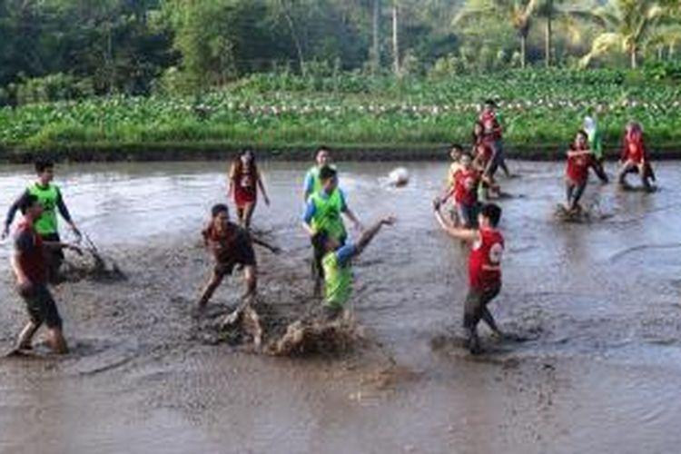 Para duta wisata dari seluruh Provinsi Jawa Timur, bermain polo lumpur, di areal persawahan di Desa Ledokombo, Kecamatan Ledokombo, Sabtu (23/8/2014).