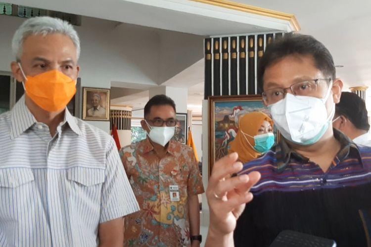 Menteri Kesehatan, Budi Gunadi Sadikin menemui Gubernur Jawa Tengah, Ganjar Pranowo di rumah dinas Puri Gedeh Kota Semarang, Sabtu (5/6/2021).