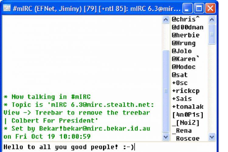Tampilan chatting mIRC
