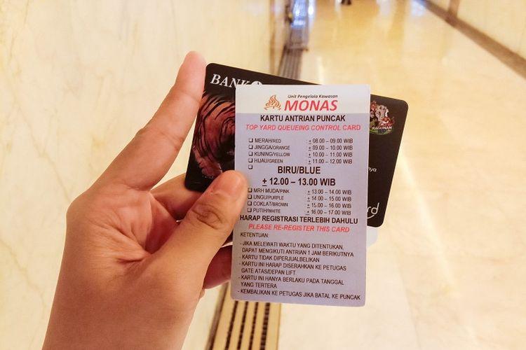 Kartu JakCard dapat digunakan untuk membeli tiket masuk Tugu Monas, Jakarta, Rabu (29/1/2020).