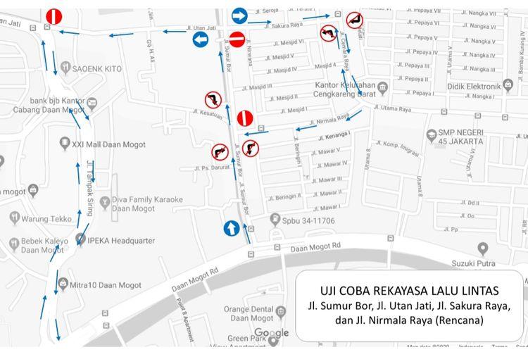 Rekayasa uji coba sistem satu arah dari jalan Sumur Bor sampai jalan Utan Jati, Jakarta Barat