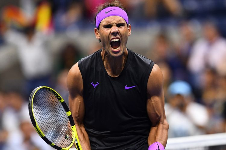 Rafael Nadal of Spain reacts after winning against Diego Schwartzman of Argentina during their Mens Singles Quarter-finals match at the 2019 US Open at the USTA Billie Jean King National Tennis Center in New York on September 4, 2019. (Photo by Johannes EISELE / AFP)
