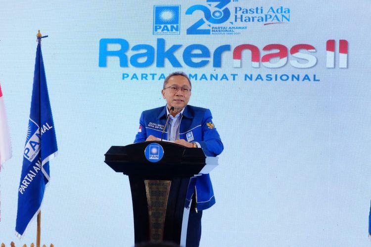 Ketua Umum PAN Zulkifli Hasan saat pimpin rapat kerja nasional (Rakernas) II PAN, Selasa (31/8/2021).