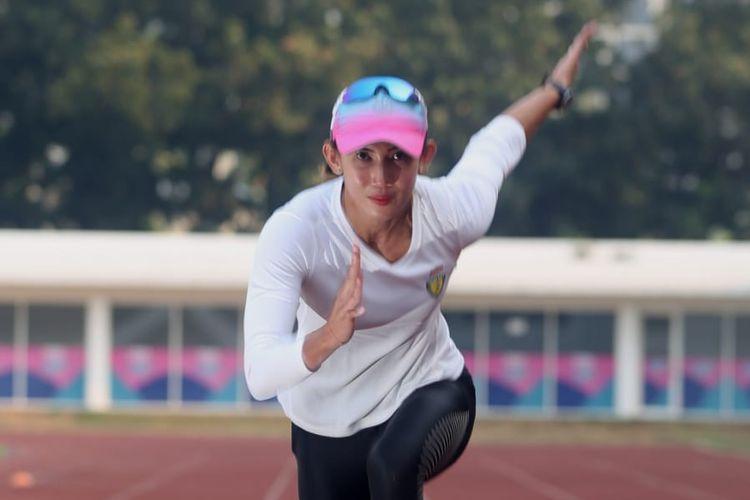 Atlet putri lari gawang Indonesia, Emilia Nova. Emilia sukses meraih medali emas SEA Games 2019 saat menjadi juara lari gawang 100m putri, Senin 9 Desember 2019.