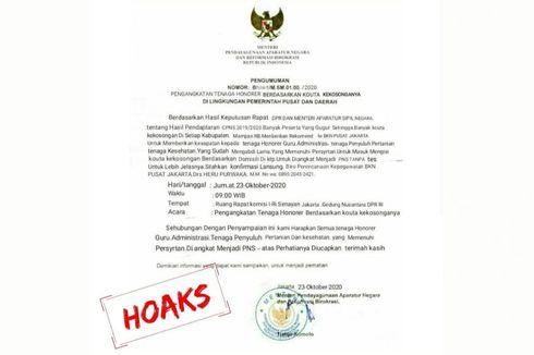 [HOAKS] Surat Pengangkatan Tenaga Honorer untuk Isi Kuota Kosong CPNS Catut Menteri PAN RB
