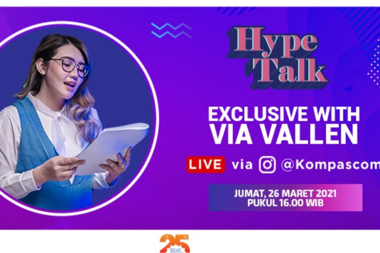 Via Vallen akan hadir menjadi tamu dalam Hype Talk yang akan disiarkan secara live di Instagram Kompas.com pada Jumat (26/3/2021) pukul 16.00 WIB.
