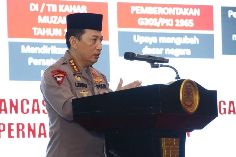 Kapolri Jenderal Listyo Sigit Prabowo dalam Tanwir 1 Literasi Kebangsaan Pemuda Muhammadiyah di Manado, Sulawesi Utara, Jumat (2/4/2021).