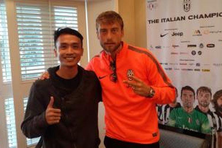 Wartawan Kompas.com dan Claudio Marchisio (kanan).