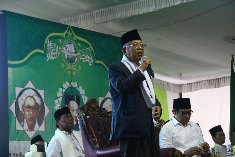 Calon Wakil Presiden (Cawapres) Nomor urut 01, Maruf Amin, saat menghadiri acara di Pesantren Babussalam, Kalibening, Kabupaten Jombang, Senin (18/3/2019) petang.