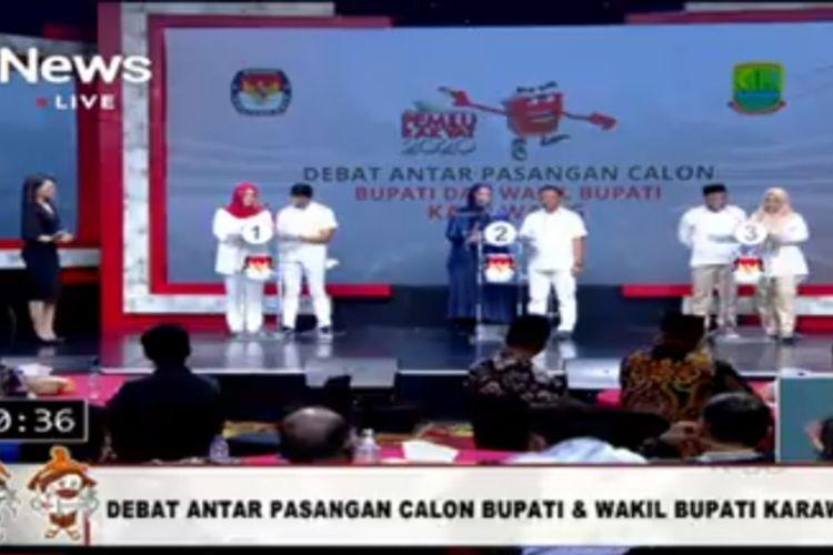Debat publik antar pasangan calon Bupati dan Wakil Bupati Karawang yang disiarkan di Inews TV, Rabu (25/11/2020) malam.