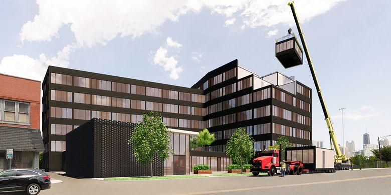 Unit apartemen modular tersebut akan diangkut dan disusun di lokasi yang telah direncanakan.