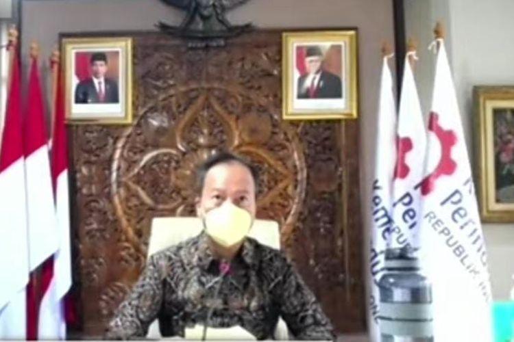 Menteri Perindustrian Agus Gumiwang jumpa pers secara virtual, Selasa (27/7/2021). (Tangkapan Layar)