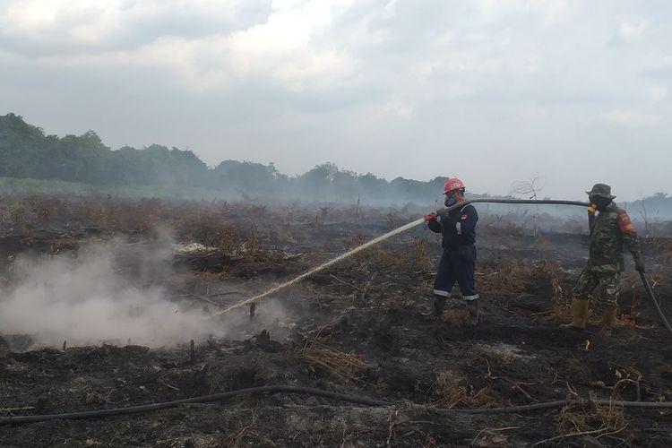 Petugas Manggala Agni Kota Pekanbaru dan TNI memadamkan karhutla di Desa Rimbo Panjang, Kecamatan Tambang, Kota Pekanbaru, Riau, Kamis (11/3/2021).