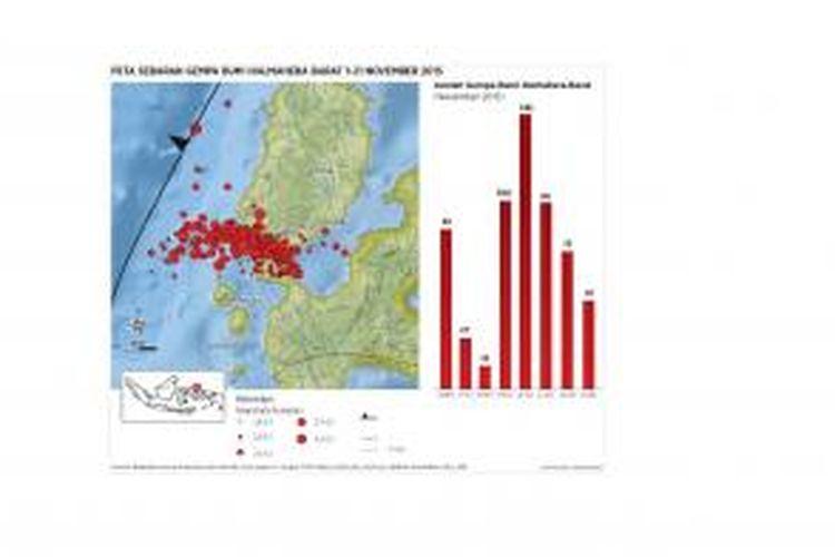 Peta sebaran gempa bumi Halmaera Barat 1-21 November 2015