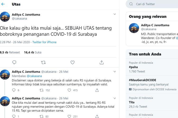 Akun Twitter @cakasana menuliskan cuitan soal tudingan bobroknya penanganan Covid-19 via Twitter.