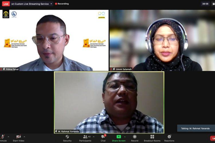 Sesi bedah buku ?Ekosistem Inovasi dan Kewirausahaan Rintisan? yang diselenggarakan Ikatan Alumni Universitas Indonesia (Iluni UI) pada Sabtu (8/5/2021) secara virtual.