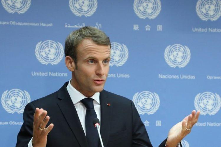 Presiden Perancis Emmanuel Macron membahas konferensi pers, usai pidatonya sebelum sesi ke-73 Majelis Umum di PBB, pada Selasa (25/9/2018) di New York, Amerika Serikat. (AFP/Ludovic Marin)