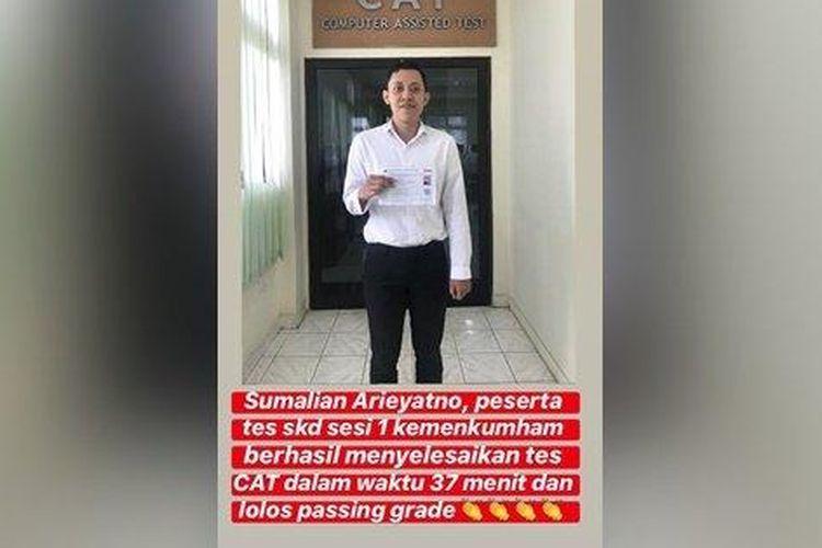 Peserta CPNS, Sumalian Arieyanto, mengerjakan soal hanya 37 menit dan lulus passing grade, Selasa (4/2/2020).