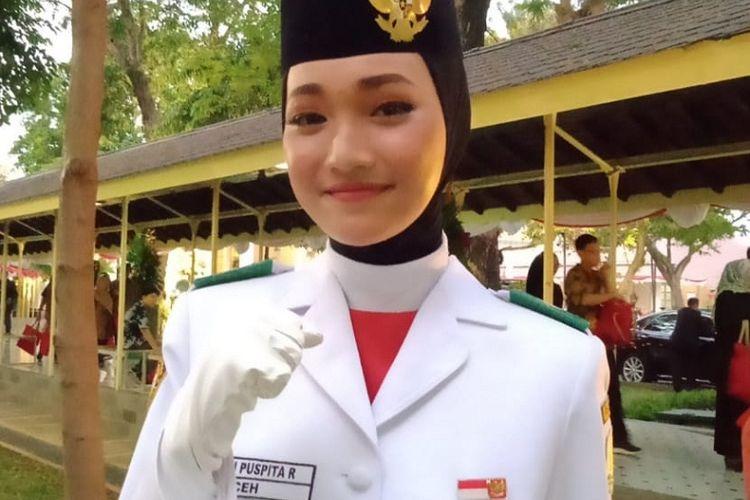 Siswi SMA Negeri 1 Bireuen, Indrian Puspita Rahmadhani (17), pada upacara 17 Agustus 2020 kembali dipanggil ke Istana Negara di Jakarta sebagai anggota Paskibraka.