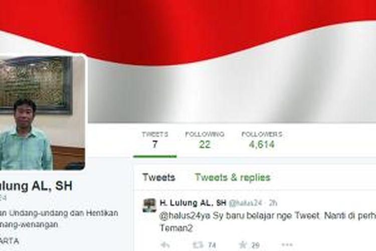 Akun Twitter Haji Lulung dengan ID @halus24.