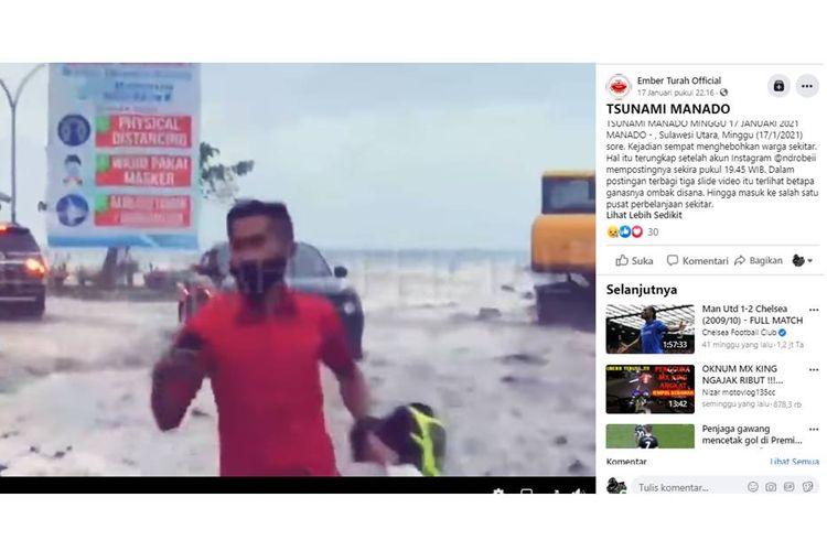 Tangkapan layar unggahan hoaks dengan narasi Manado, Sulawesi Utara diterjang tsunami pada Minggu (17/1/2021).