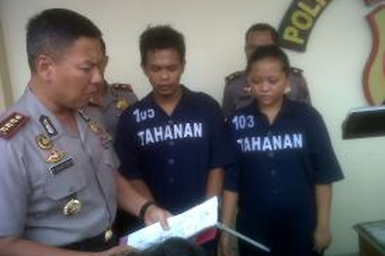 Dua Pasangan Suami-Istri pelaku pencurian di rumah Plt Ketua DPRD Jateng saat gelar di Mapolres Semarang, Selasa (20/5/2014).