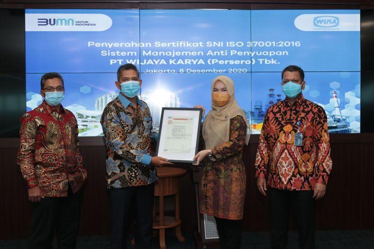 PT Wijaya Karya (Persero) Tbk resmi memperoleh Sertifikat Manajemen Anti Penyuapan (SMAP) ISO 37001:2016 dari Sucofindo International Certification Services (SICS).