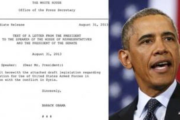 Gedung Putih secara resmi mengirim surat ke kongres yang berisi permohonan persetujuan terkait rencana serangan militer terbatas ke Suriah.