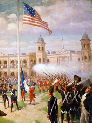Bendera AS menggantikan bendera Perancis di alun-alun New Orleans, Louisiana
