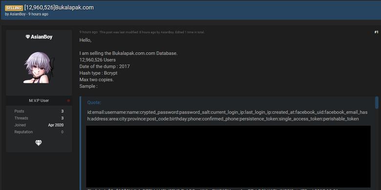 Tangkapan layar forum online hacker Raidforum di mana akun lain yakni AsianBoy juga mengklaim menjual 13 juta akun pengguna Bukalapak.