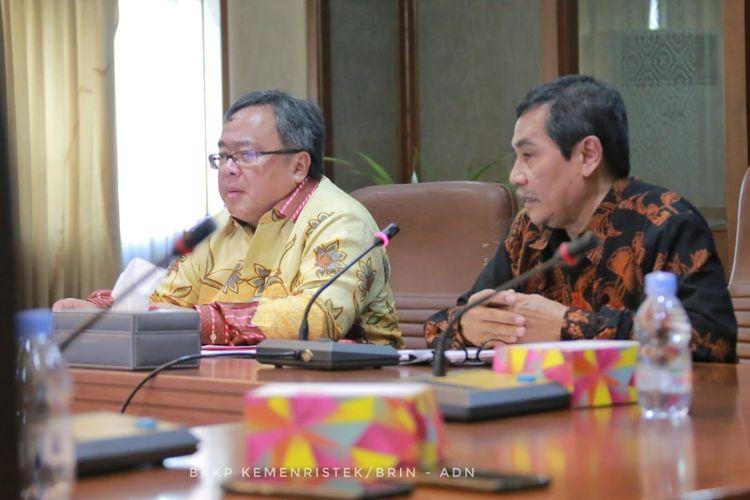 Menteri Ristek/Kepala BRIN Bambang Permadi Soemantri Brodjonegoro dalam konferensi pers Hasil Penilaian Kinerja Penelitian Perguruan Tinggi Tahun 2016-2018 di Gedung II BPPT, Jakarta (19/11/2019).