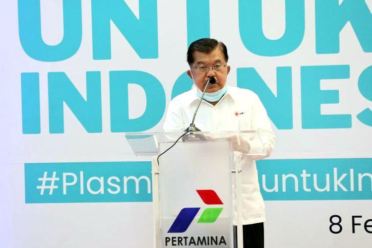 Ketua Umum Palang Merah Indonesia (PMI) Jusuf Kalla, saat menghadiri acara 1048 Donor Nasional Terapi Plasma Konvalesen BUMN di Kantor Pusat Pertamina Jalan Medan Merdeka Timur, Jakarta Pusat, Senin (8/2/2021).
