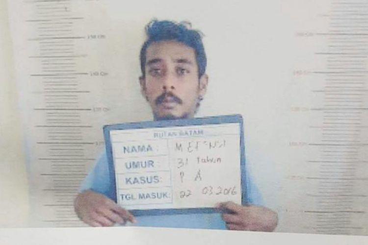 Salah seorang napi kasus pencabulan yang kabur dari Lapas Tanjung Pinang, Rabu sore.