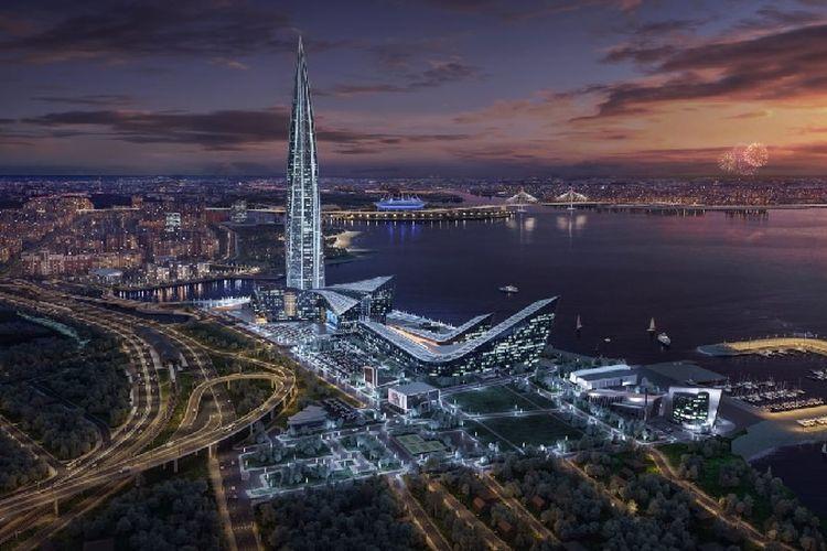Beginilah Lakhta Center, gedung tertinggi di Eropa, jika sudah selesai dibangun.