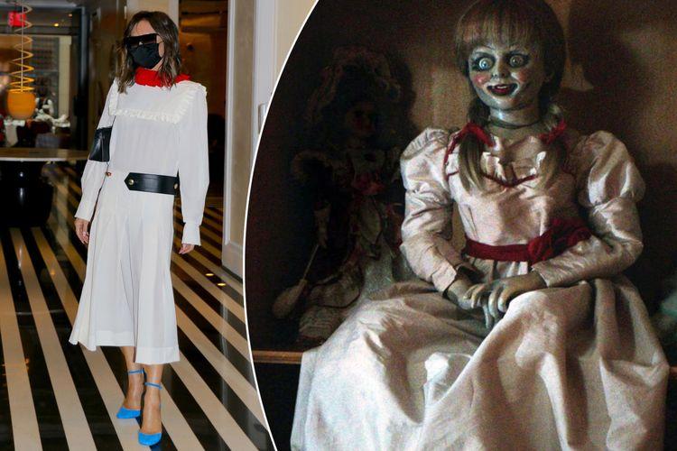 Victoria Beckham (kiri) dan boneka Annabelle (kanan).