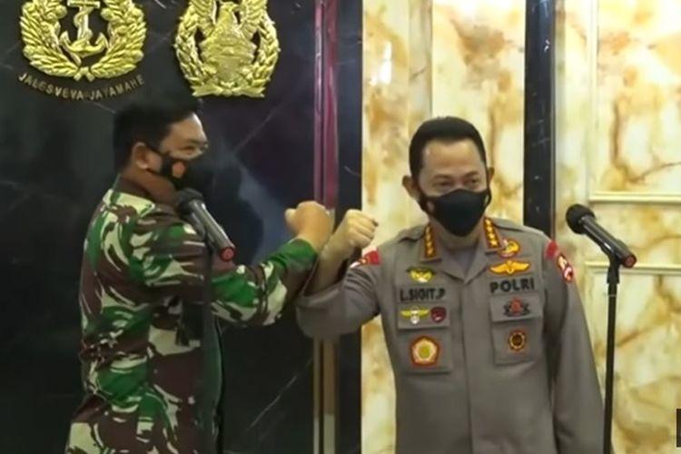 Panglima TNI Marsekal Hadi Tjahjanto dan Kapolri Jenderal (Pol) Listyo Sigit Prabowo.