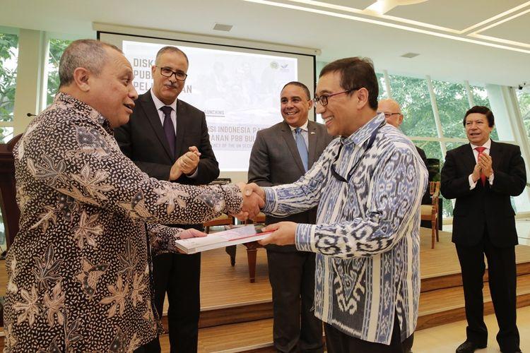 Diskusi Publik dan Peluncuran Buku Presidensi Indonesia pada Dewan Keamanan PBB di kantor Kementerian Luar Negeri Jakarta, Jumat (16/8/2019).
