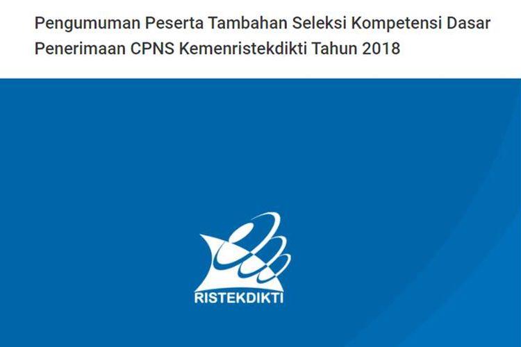 Pengumuman penambahan peserta seleksi SKD CPNS Kemenristekdikti