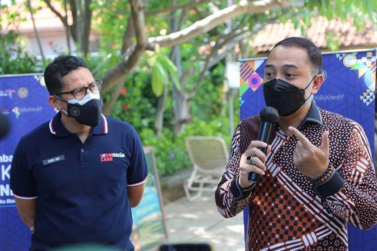Wali Kota Surabaya Eri Cahyadi bersama Menparekraf Sandiaga Salahudin Uno.