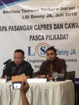 Peneliti Lingkaran Survei Indonesia (LSI) Denny JA, Adjie Alfaraby (kanan) memaparkan rilis survei di kantor LSI, Jakarta, Selasa (10/7/2018)