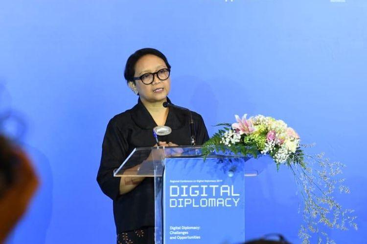 Menteri Luar Negeri (Menlu) Retno L.P. Marsudi saat membuka acara Regional Conference on Digital Diplomacy (RCDD) di Jakarta, Selasa (10/9/2019). Forum inisiatif pertama di kawasan yang digalang oleh Pemerintah Indonesia.
