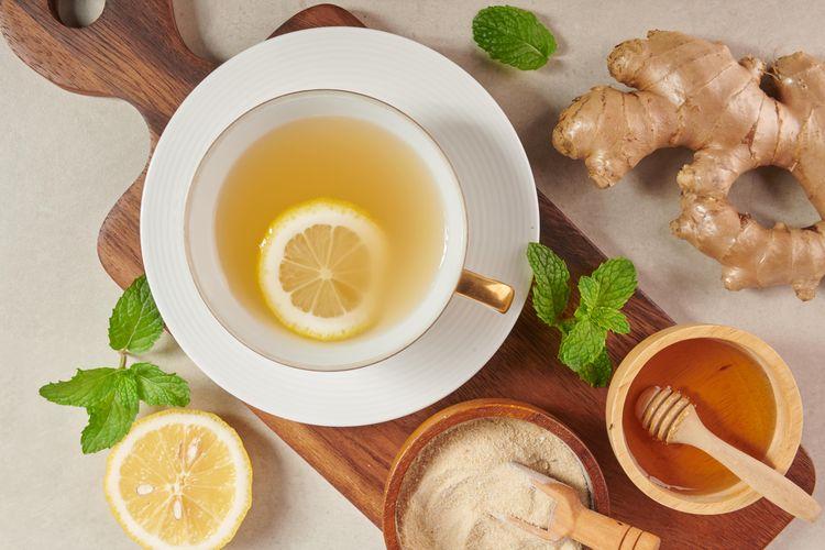 Ilustrasi air lemon dan jahe.