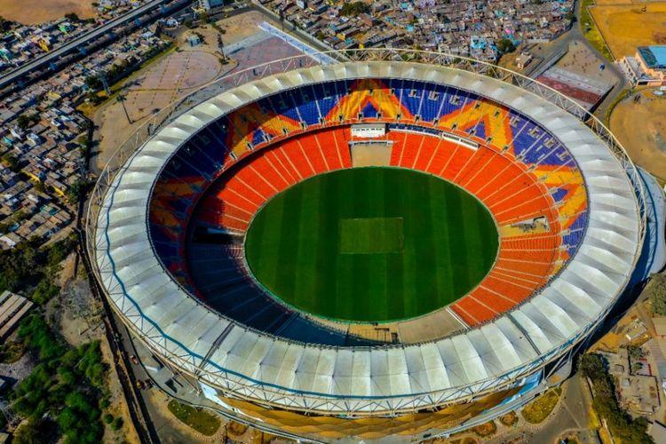 Ilustrasi Stadion Motera di Ahmedabad, India.