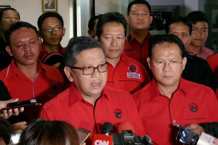Sekretaris Jenderal PDI-P Hasto Kristiyanto ketika ditemui di Kantor DPP PDI-P Lenteng Agung, Jakarta, Minggu (8/4/2018).