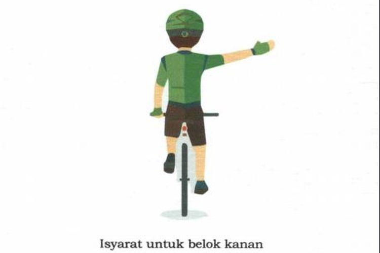 Isyarat tangan pesepeda untuk belok kiri dan kanan