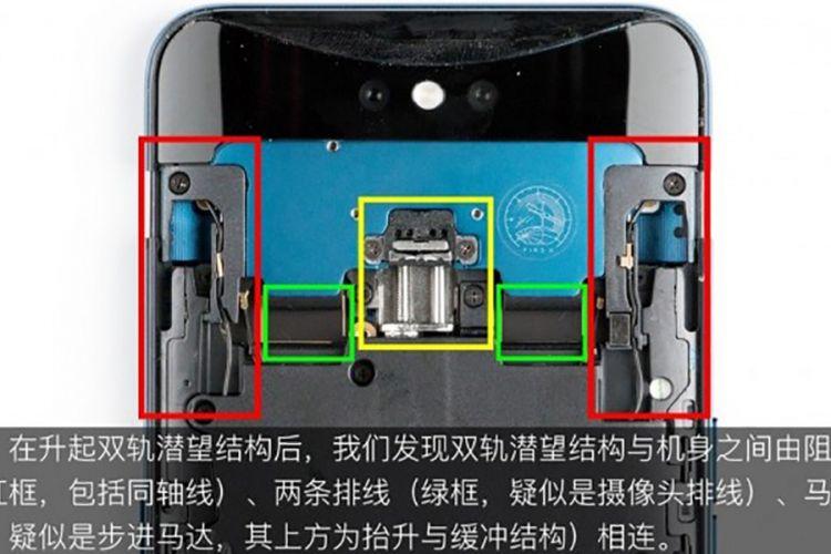 Mekanisme kamera geser Oppo Find X. Kotak merah menandai rel pemandu. Motor penggerak ditandai kotak kuning, lalu kotak hijau kabel data.