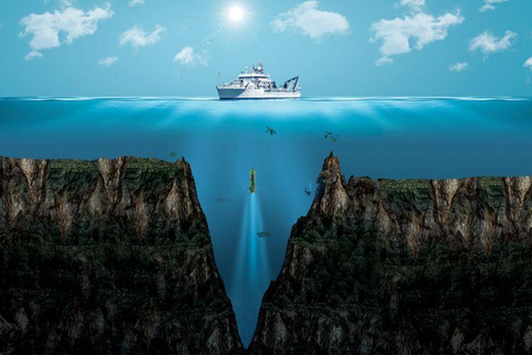 Ilustrasi Palung Mariana, palung terdalam di bumi