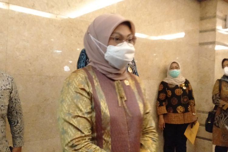 Menteri Ketenagakerjaan Ida Fauziyah saat ditemui di Hotel Horison, Kota Bekasi, Kamis (19/11/2020)