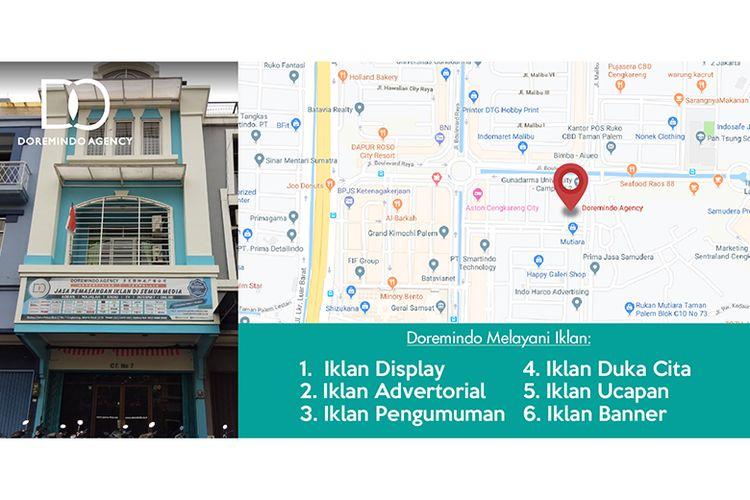 Kantor Doremindo di Ruko Mutiara Taman Palem Blok C7 No. 7, Cengkareng, Jakarta Barat.