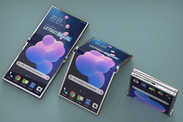 Ilustrasi ponsel lipat HTC.